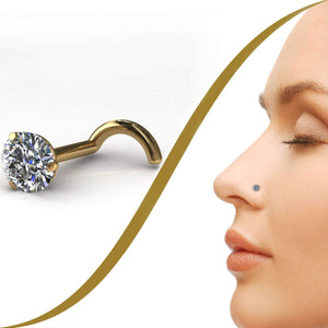 10pt Claw Set Diamond Nose Pin, 3mm Diamond - BMG Body Jewellery