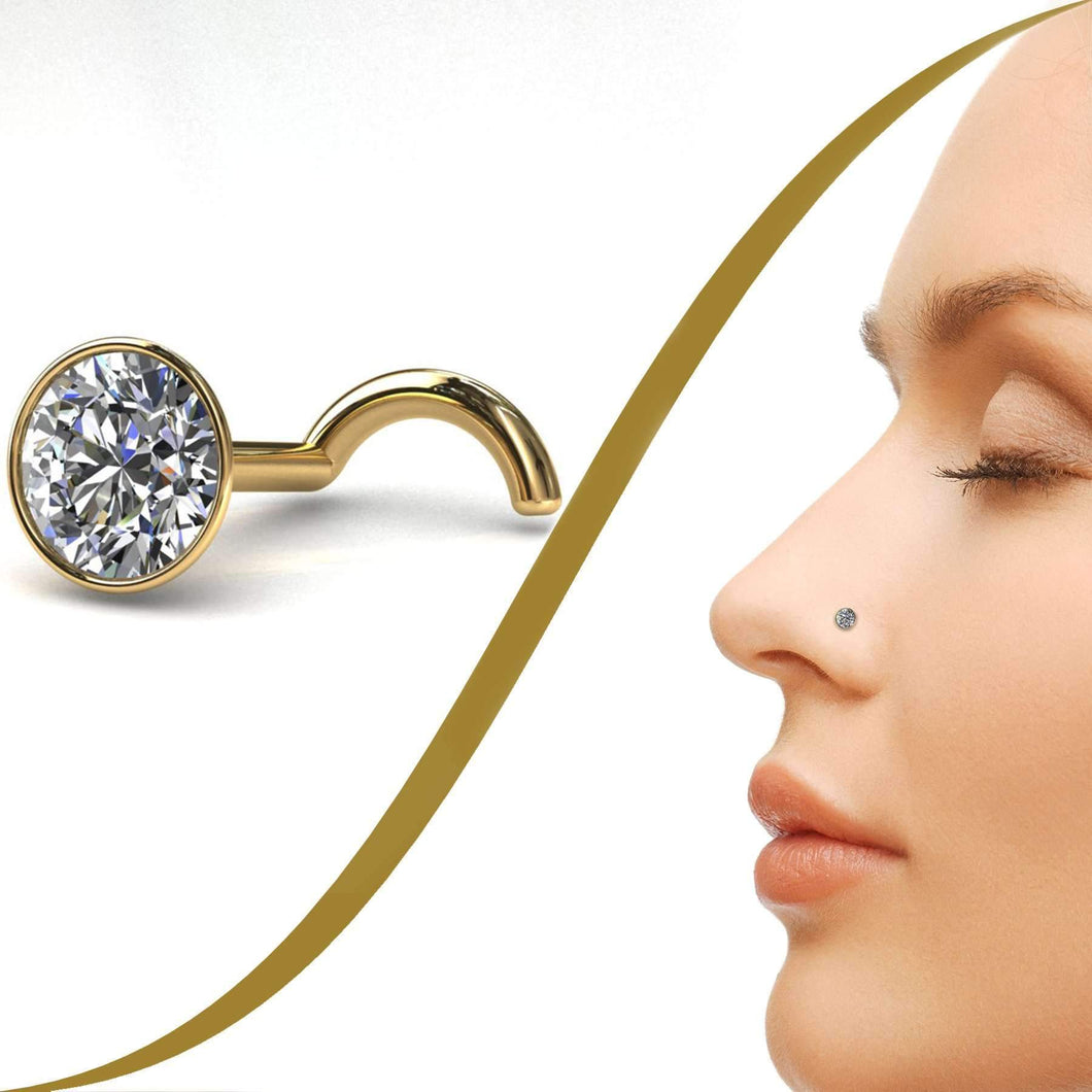15pt Diamond Nose Stud, 3.4mm Diamond - BMG Body Jewellery