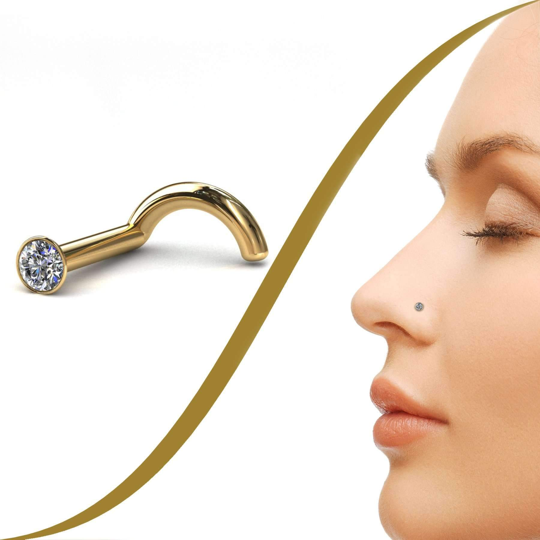Diamond Nose Stud with Tiny 1pt Diamond (1.4mm) - BMG Body Jewellery