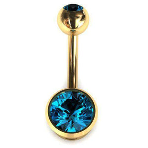 Belly Bar with Real London Blue Topaz Gemstone Round 9ct - BMG Body Jewellery