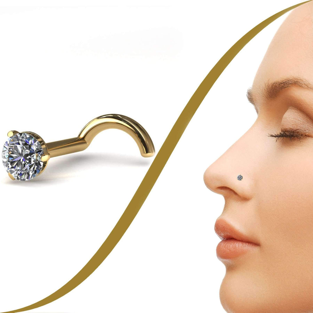 Diamond Nose Stud with Medium 2.4mm Claw Set Diamond - BMG Body Jewellery