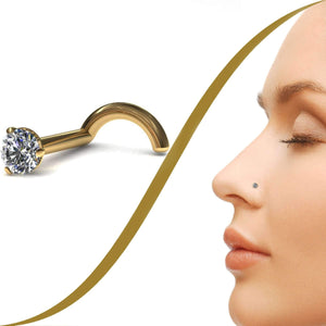 Claw Set Diamond Nose Stud with Small 2mm Diamond - BMG Body Jewellery