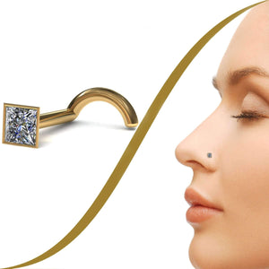 Princess Cut Diamond Nose Pin - 5pt (2mm) Diamond - BMG Body Jewellery