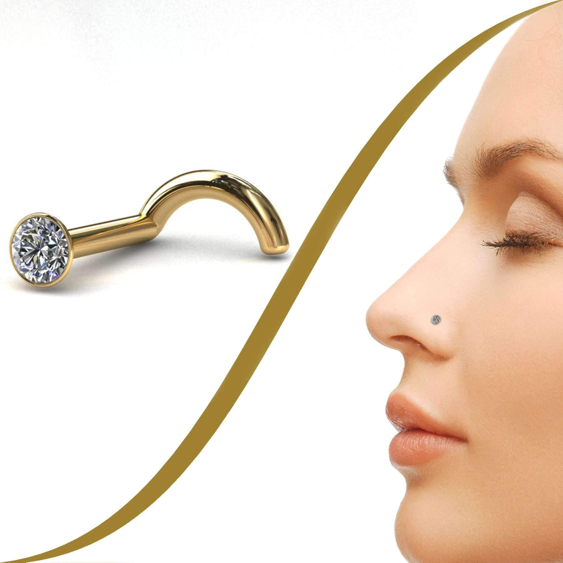 Small Cubic Zirconia Nose Stud (2mm) - BMG Body Jewellery