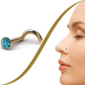 3pt Blue Diamond Nose Pin, 2mm Diamond - BMG Body Jewellery