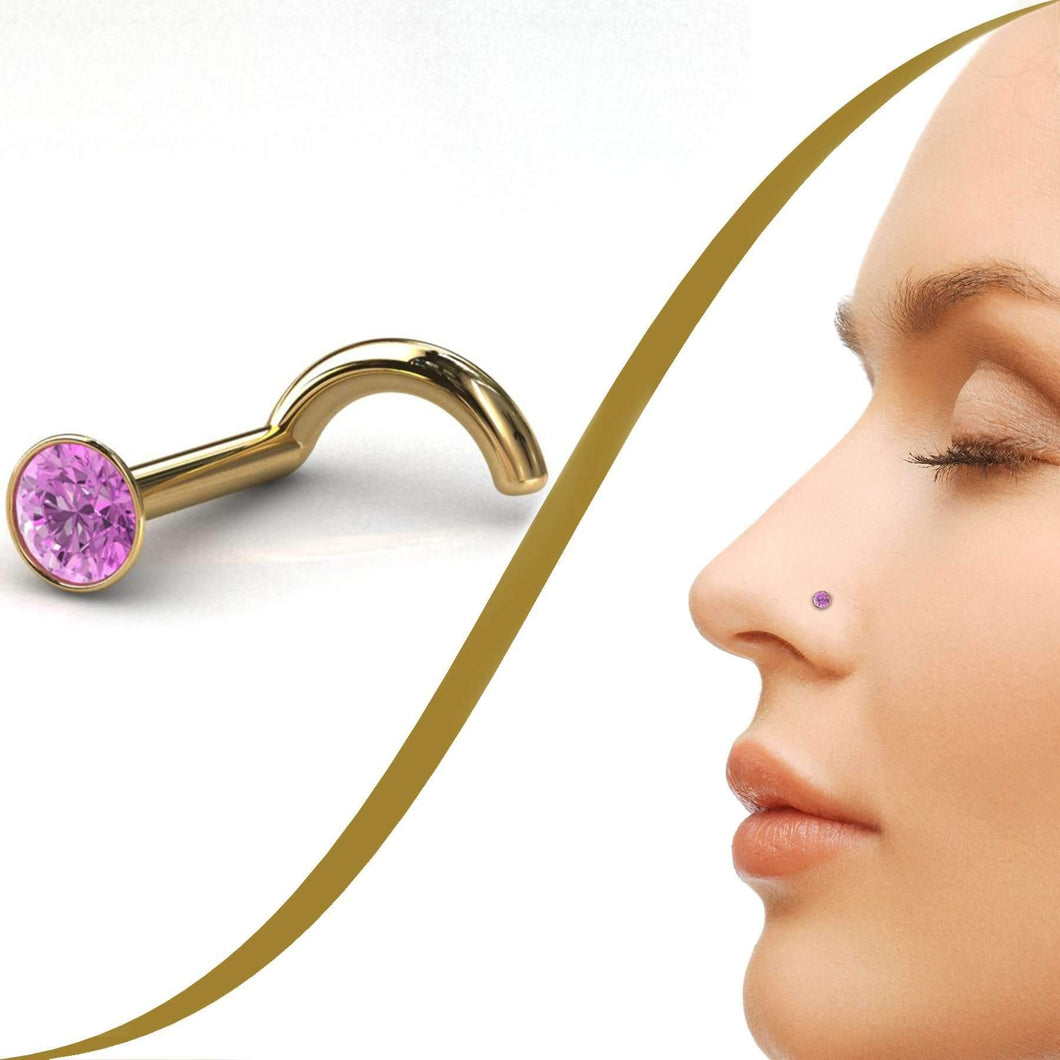 Purple Fire Diamond Nose Jewellery - 3pt Diamond - BMG Body Jewellery