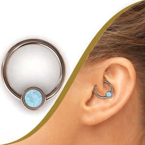 4mm Aquamarine Daith Jewellery - BMG Body Jewellery