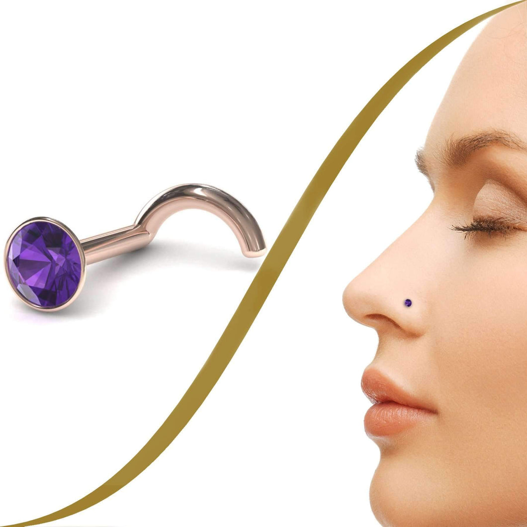 Amethyst Gemstone Nose Stud - BMG Body Jewellery
