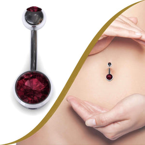 Belly Bar with a Real Rose Garnet 9ct gold - BMG Body Jewellery
