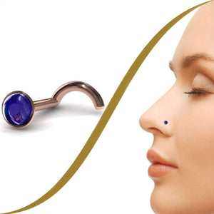 Blue Cabochon Sapphire Nose Piercing Stud - BMG Body Jewellery