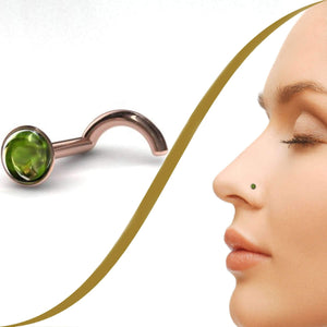 Cabochon Sapphire Nose Stud in Olive Green - BMG Body Jewellery