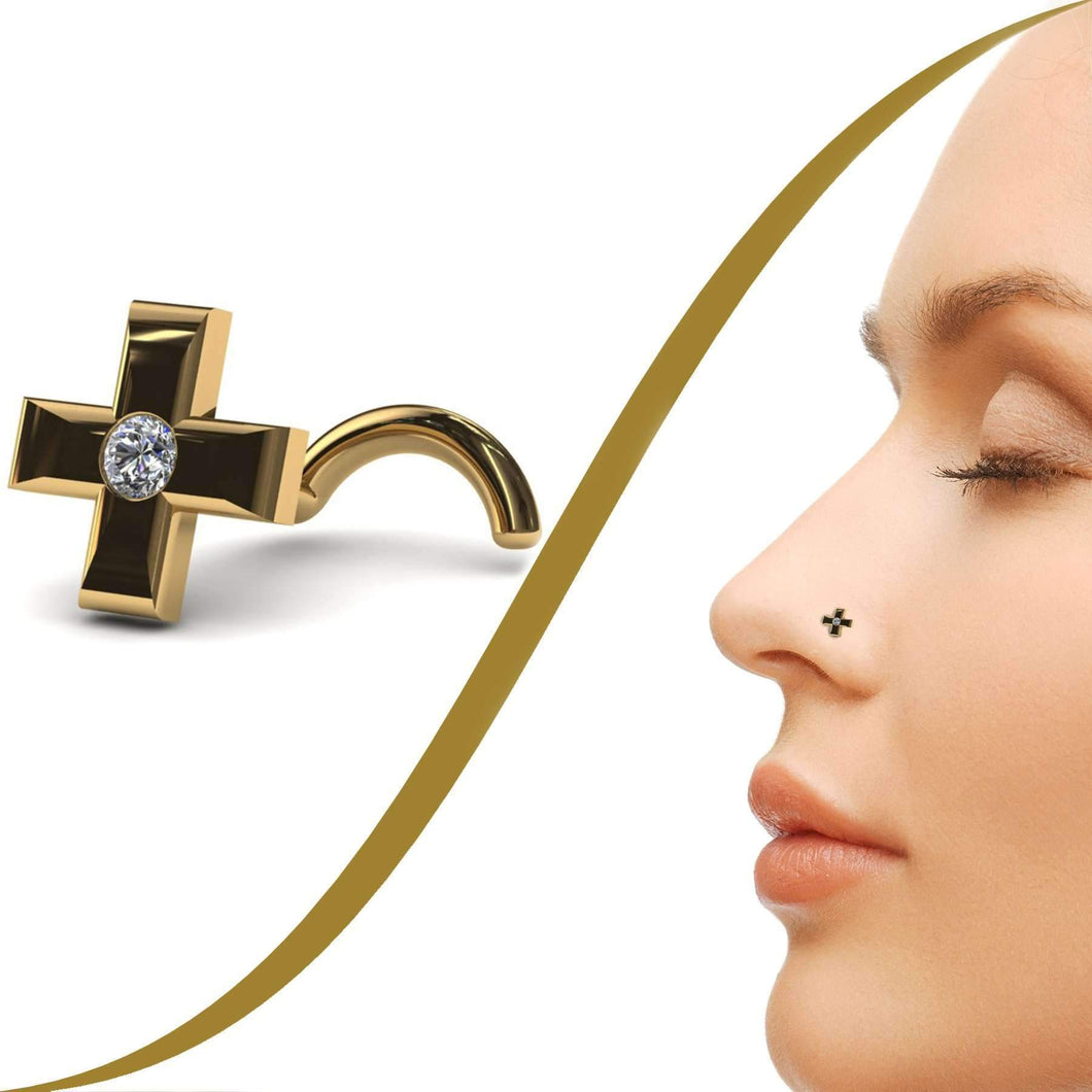Cross Shape Nose Jewellery with 1pt Diamond - BMG Body Jewellery
