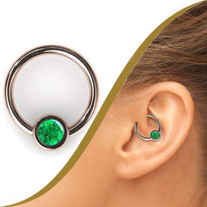 Daith Ring with 4mm Emerald Gemstone - BMG Body Jewellery