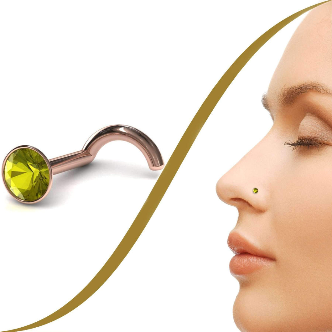 Demantoid Garnet Nose Stud - BMG Body Jewellery