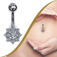 Diamond Belly Bar with 9 Diamond Cluster - BMG Body Jewellery