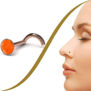 Fire Opal Gemstone Nose Stud (2.5mm) - BMG Body Jewellery