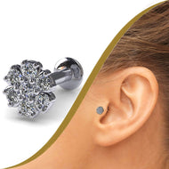 Flower Diamond Cluster Labret Stud - BMG Body Jewellery