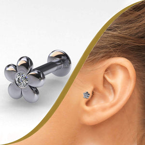 Flower Diamond Internally Threaded Pin - BMG Body Jewellery