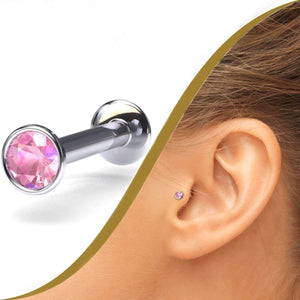Labret Pin with Pink Sapphire - BMG Body Jewellery