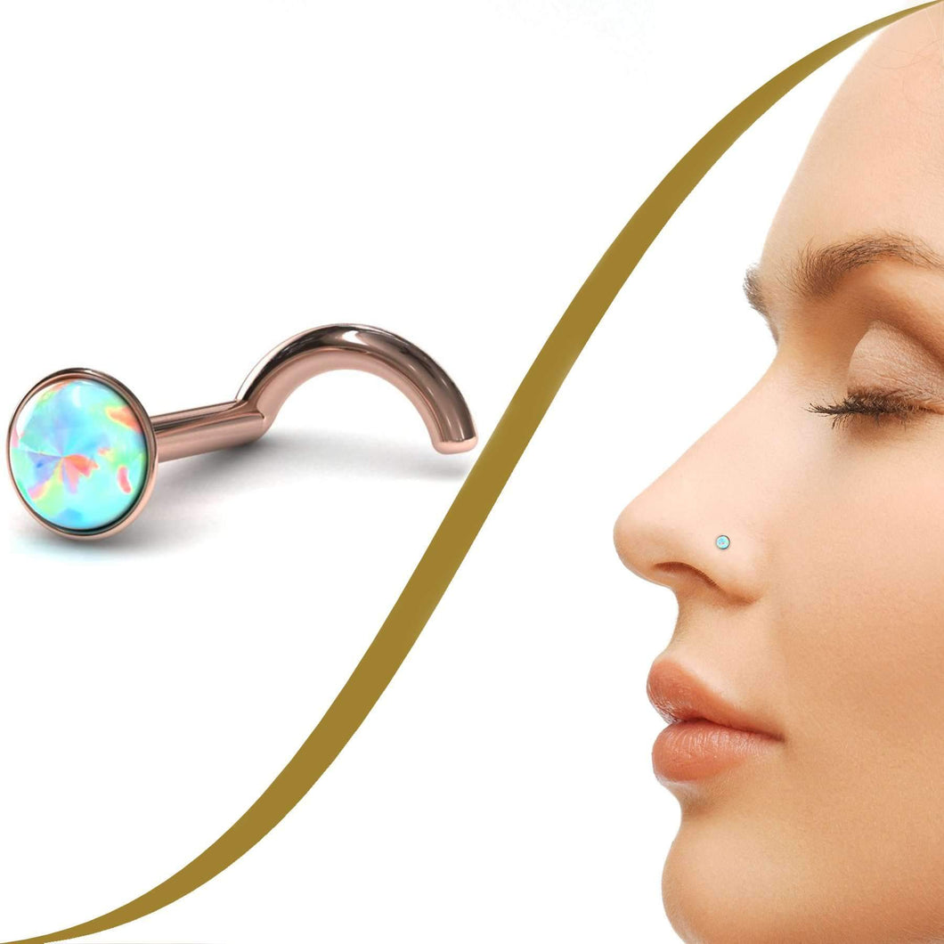 Opal Nose Ring - BMG Body Jewellery