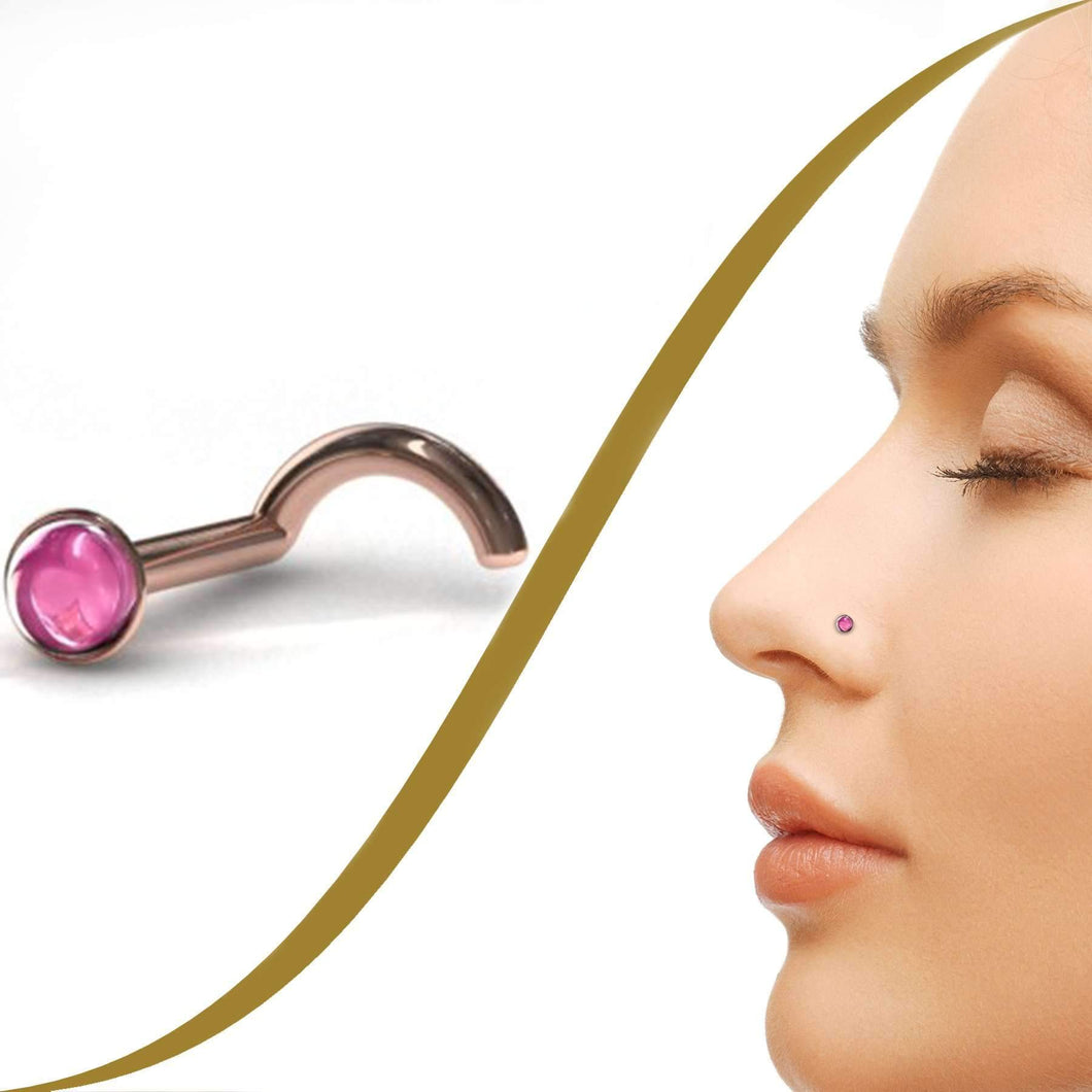 Pink Cabochon Nose Piercing Stud (2.2mm) - BMG Body Jewellery