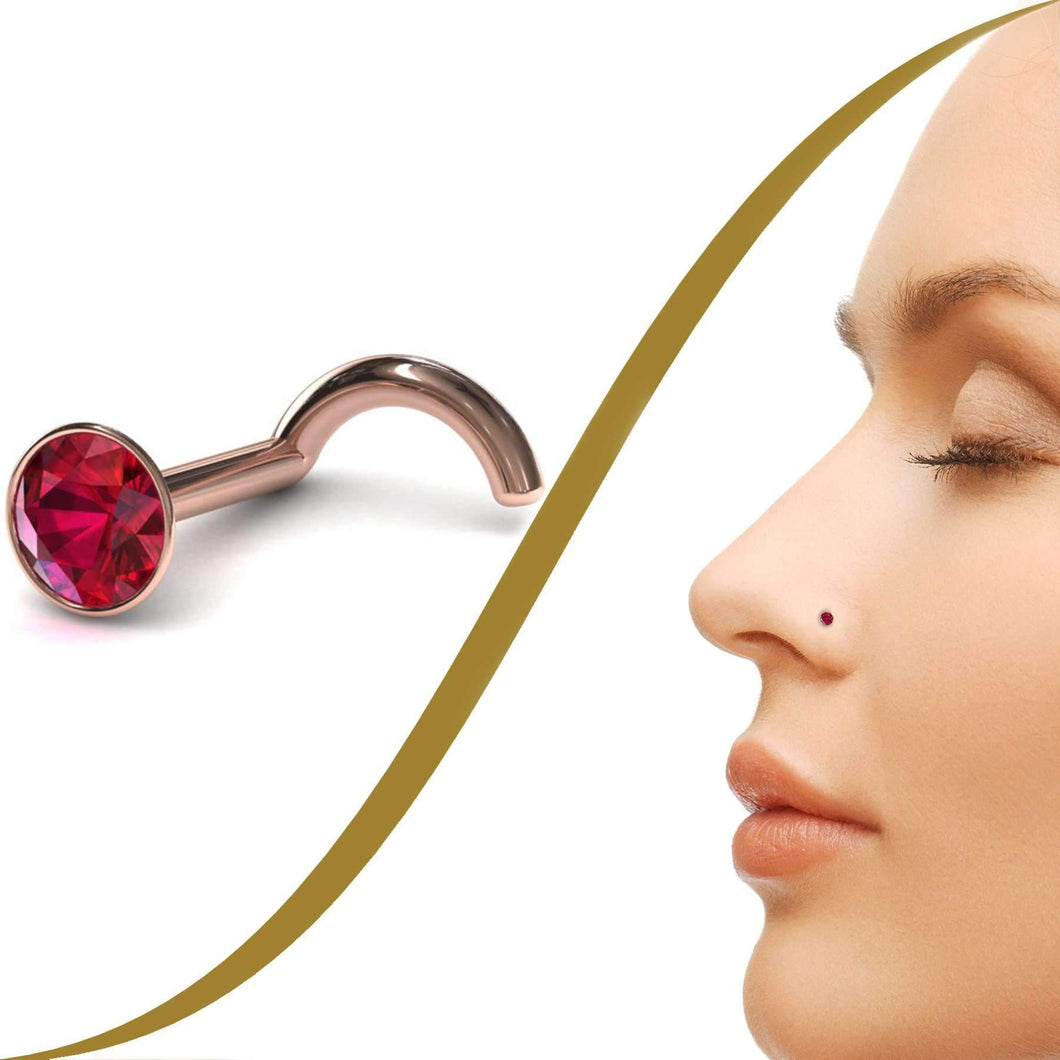 Ruby Nose Pin - BMG Body Jewellery