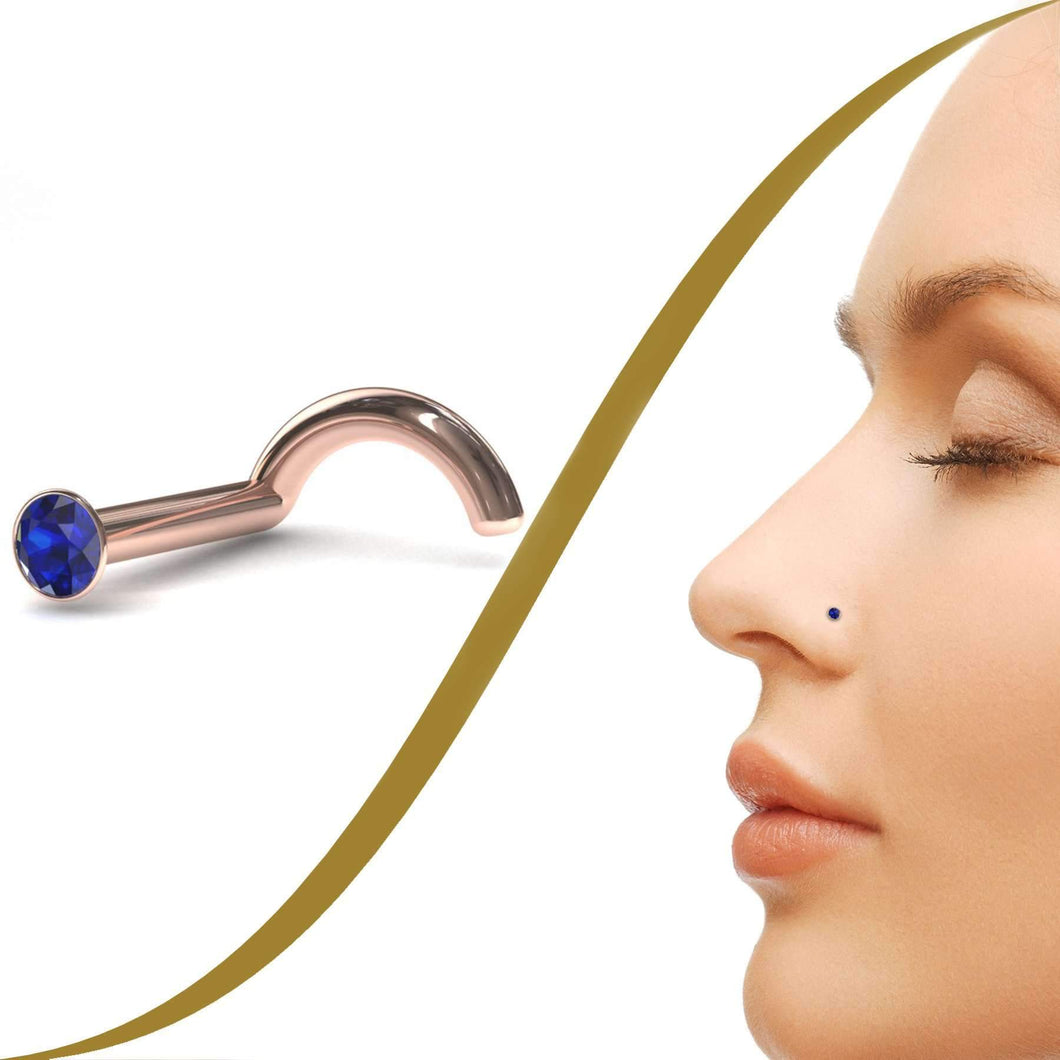 Sapphire Nose Stud with Tiny 1.4mm Blue Sapphire - LATEST - BMG Body Jewellery
