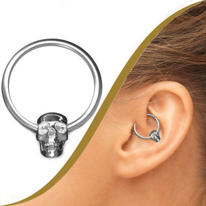 Skull Ball Closure Ring, 1.2mm Gauge - BMG Body Jewellery