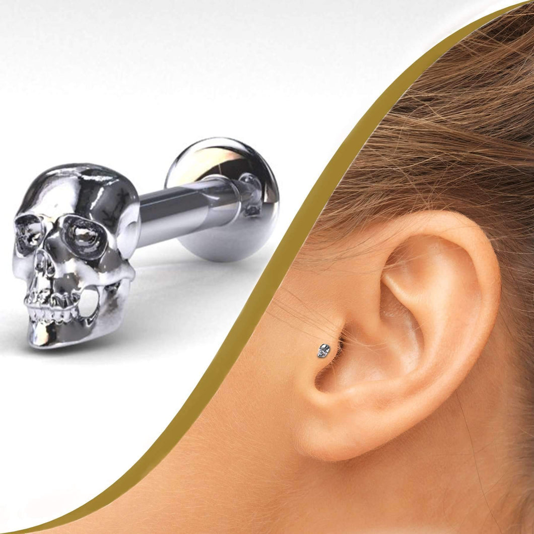 Skull Labret Piercing Stud, 3.35mm Skull - BMG Body Jewellery
