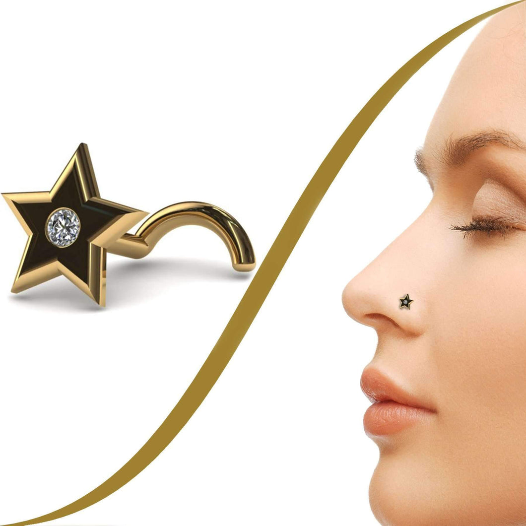 Star Nose Piercing Jewellery with 1pt Diamond - BMG Body Jewellery