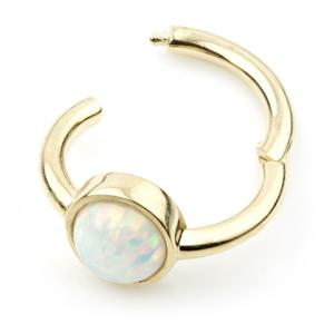 Opal Hinge Conch Ring - 14ct Yellow Gold Round - 8mm - BMG Body Jewellery