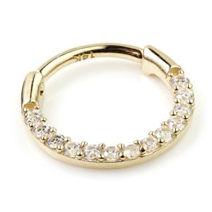 Crystal Hinged Ring in 14ct Yellow or White Gold 10mm x 1.2 - BMG Body Jewellery