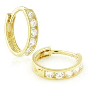 9ct Channelled CZ Huggies (Pair)