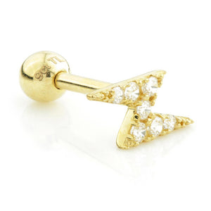 Lighting Bolt - Ear Pin with screw-on ball. 1mm thick - BMG Body Jewellery