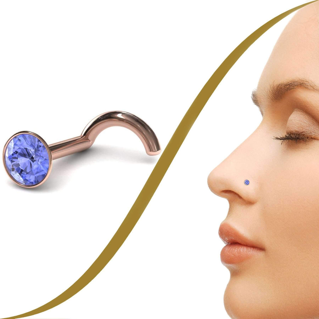Tanzanite Nose Stud - BMG Body Jewellery