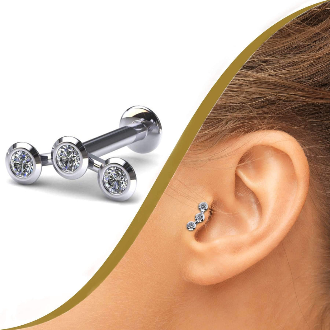 Three Diamond Labret Stud - BMG Body Jewellery