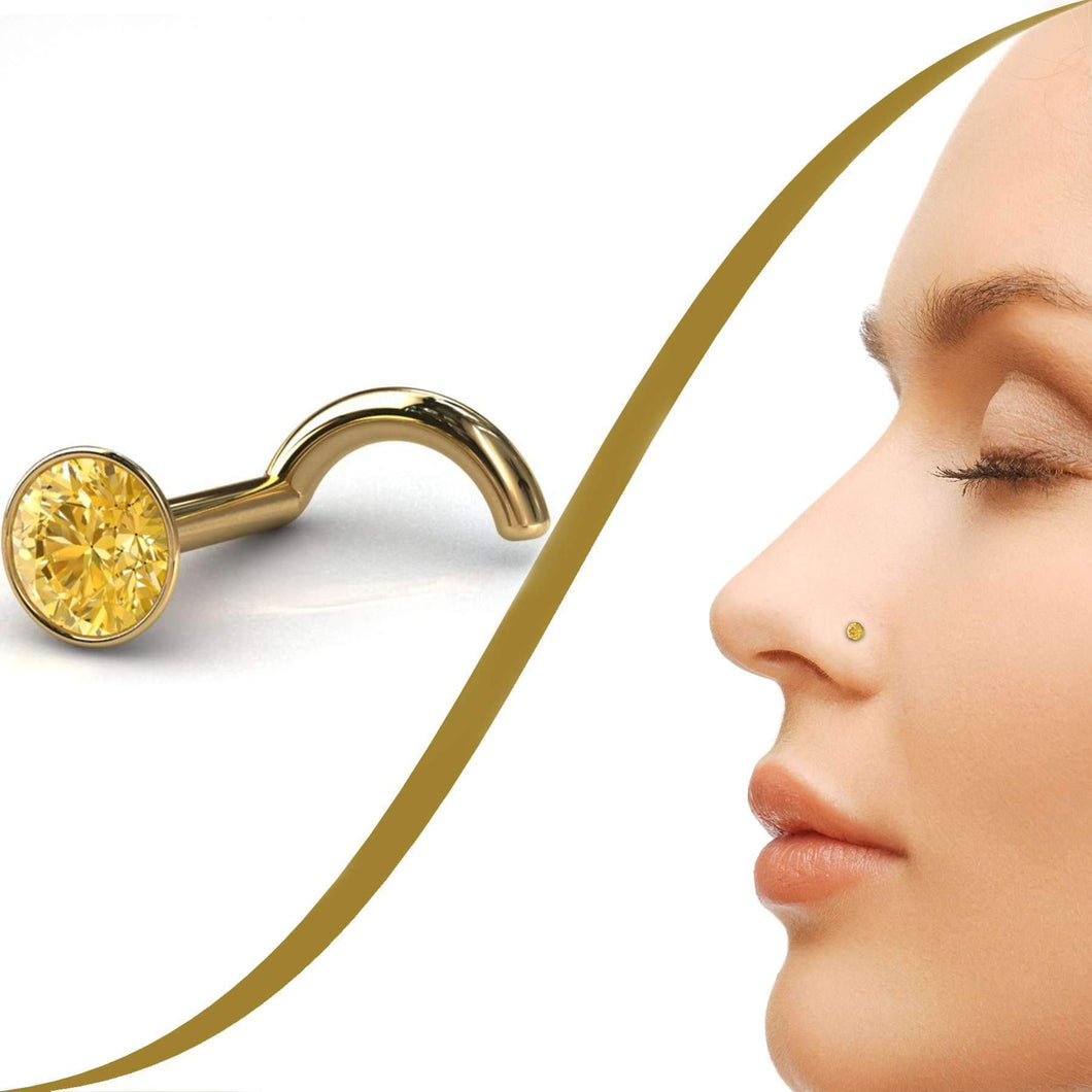 Yellow Diamond Nose Piercing Stud with 6pt (2.6mm) Diamond - BMG Body Jewellery