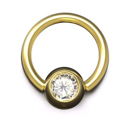 Diamond Ball Closure Ring, 1.6mm Gauge and 6mm Ball, in Yellow Gold