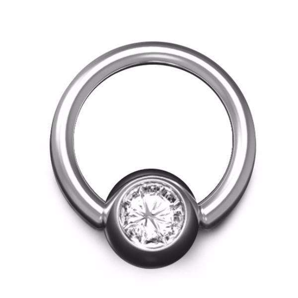 Diamond Ball Closure Ring with 1.6mm Gauge and 6mm Ball, in White Gold