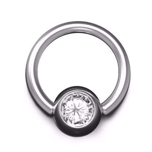 Diamond Ball Closure Ring with 1.6mm Gauge and 6mm Ball, in White Gold - BMG Body Jewellery