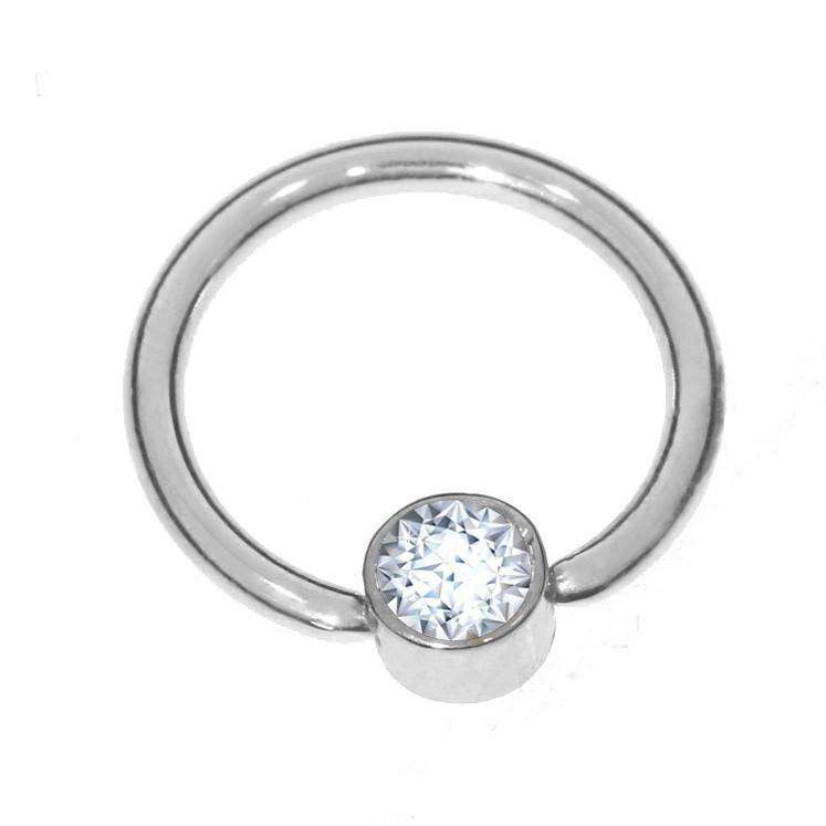 Diamond Solitaire Daith Ring - BMG Body Jewellery