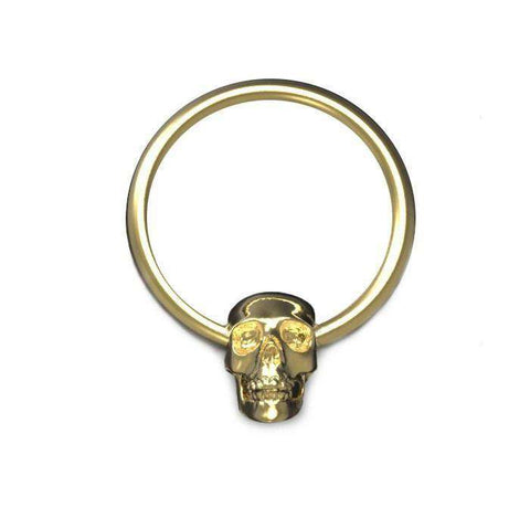 Skull Ball Closure Ring, 1.2mm Gauge