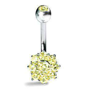Cluster Belly Bar with Yellow Sapphire Cluster - BMG Body Jewellery