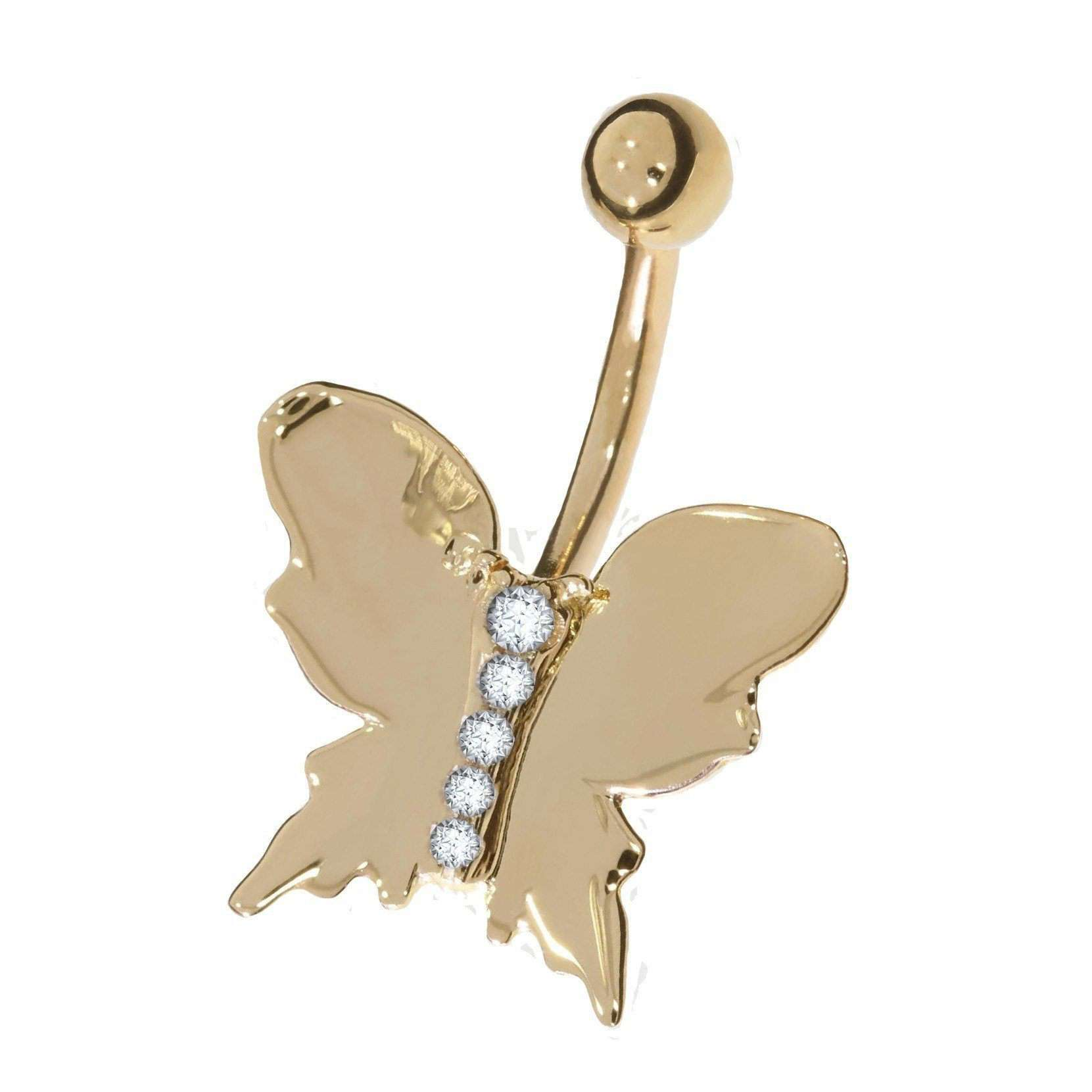 Cubic Zirconia Butterfly Belly Stud - LATEST - BMG Body Jewellery
