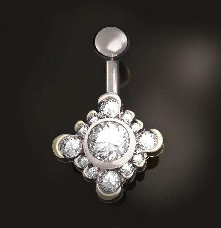 Diamond Cluster Belly Ring Square Shaped - BMG Body Jewellery