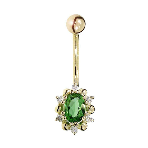 Gemstone Belly Button Bar with Tsavorite and Diamonds