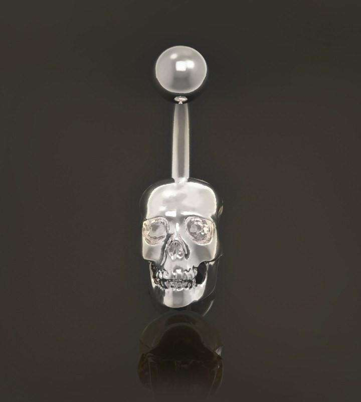 Skull Belly Button Bar - Choose Your Eyes