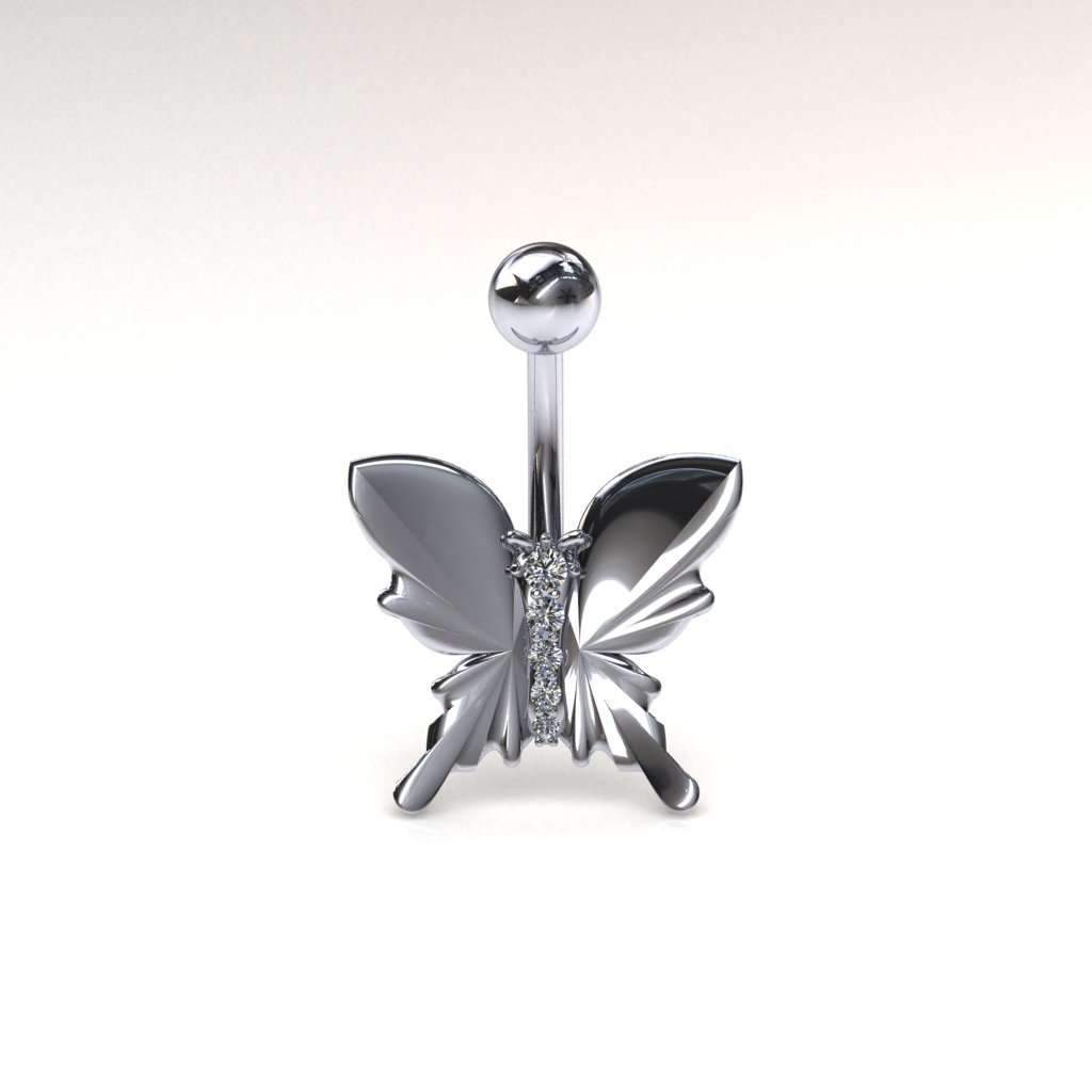 Diamond Studded Butterfly Belly Bar - LATEST - BMG Body Jewellery