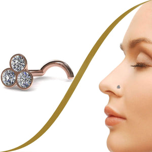 Clover, Diamond Trio Nose Pin - BMG Body Jewellery