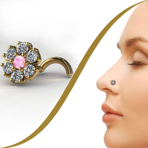 "Diamond Cluster Nose Jewellery, Flower Shaped ""Choose Your Center Stone"" - BMG Body Jewellery"